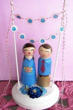 Special order for Kelly dolls and stand  no bunting by handpaintedloveboxes