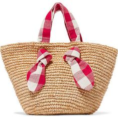 Loeffler Randall Hazel Raffia And Gingham Canvas Tote - Beige Best Beach Bag, Crochet Tote, Beach Tote Bags, Summer Bags, Knitted Bags, Handbag Accessories, Bag Making, Straw Bag, Purses And Bags