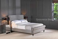 Premium Upholstered Linen Chesterfield Bed In Double King Super King  EGO1220S