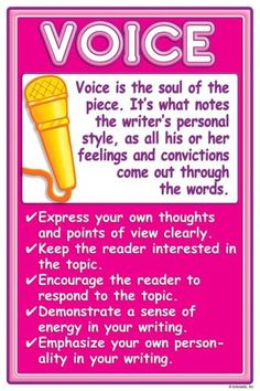 6 + 1 Writing Traits - Mesa Public Schools classroom poster for voice Writing Strategies, Writing Lessons, Writing Resources, Teaching Writing, Writing Skills, Writing Process, School Resources, Writing Activities, Writing Ideas