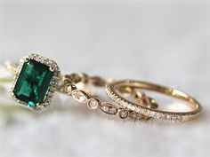 Bridal Set of 6x8mm Emerald Ring Pave Setting Diamond by InOurStar