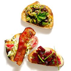 No-fuss summer party:  Better than cheese and crackers    Slice a baguette, brush slices with olive oil, and toast on the grill. Then set out a bowl of the toasts with sweet or savory toppings, and let guests build their own bruschetta.