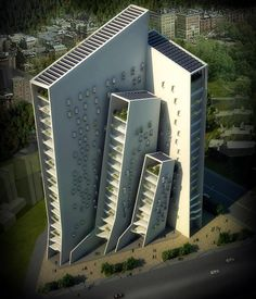 Agashiyan by Sanjay Puri Architects. This will be the highest building in a predominately low-rise neighborhood that has been designed with 95 degree Fahrenheit weather conditions in mind. Note the carefully placed terraces facing mostly north, with a few facing east and west.