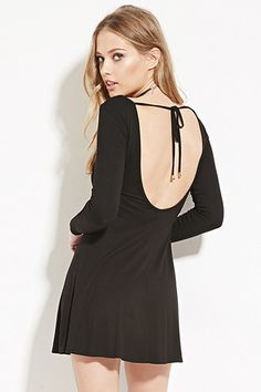 5f2c536ad08 forever 21 little black dress open back with long sleeves  12.90 Tie Backs