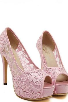 Peep toe Pink Lace Detail High Heels Shoes