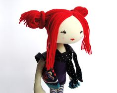 Handmade textile doll found in meskokeshi's etsy shop.  This doll is so me.
