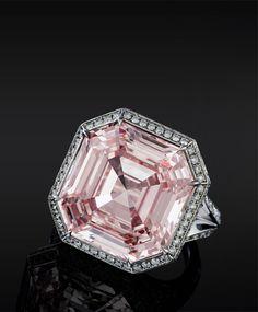 Pink Asscher Cut Diamond ring different engagement ring. Floral MILGRAIN Rose Gold an. Asscher Cut Diamond Ring, Pink Diamond Ring, Diamond Jewelry, Diamond Cuts, I Love Jewelry, Fine Jewelry, Jewellery, Jewelry Box, The Bling Ring