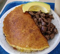 """""""Cachapa"""" is the name of this venezuelan food. This one is a """"Vaquita""""."""