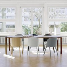 Our selection of the best new contemporary design-led furniture, lighting and accessories for both home and projects. Dining Table Design, Solid Wood Dining Table, Dining Room Table, Dining Chairs, Led Furniture, Furniture Design, Oak Veneer Plywood, Esstisch Design, Plywood Chair