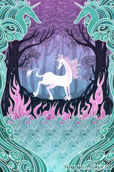 She is the Last 8x12 unicorn art print by theGorgonist on Etsy
