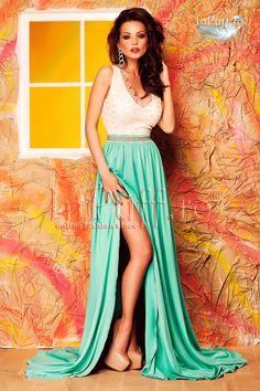 Pret: 340 RON. Rochie Atmoshere de seara crem turquoise reprezinta rochia ideala pentru evenimentele de seara. #rochiidesera #rochie