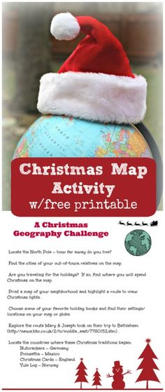 Christmas Around the World: Map Activity {w/free printable!} : Both kids & adults will enjoy this Christmas Around the World Geography Activity as they explore maps and globes with this free printable game! Christmas Gifts For Women, Christmas Books, Christmas Crafts, Christmas Parties, Christmas Ideas, Christmas Writing, Christmas Holidays, Merry Christmas, Printable Christmas Games