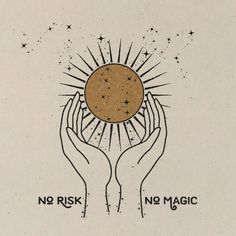No Risk. No Magic. Print Printed on 100 lb 100 Recycled Cardstock OffWhite Matte Speckled natural flecks Magnetic Teak Wood Frame not included. Art And Illustration, Watercolor Illustration, Illustrations Vintage, Animal Illustrations, Wm Logo, Art Hippie, Art Magique, Magic Art, Moon Art