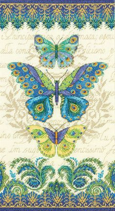 Dimensions 14 Count Peacock Butterflies Counted Cross Stitch Kit, 8 by Butterfly Cross Stitch, Cross Stitch Love, Counted Cross Stitch Kits, Cross Stitch Charts, Cross Stitch Designs, Cross Stitch Patterns, Cross Stitching, Cross Stitch Embroidery, Embroidery Patterns