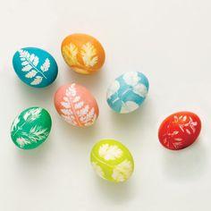 Leaf Print Easter Eggs
