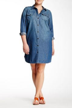 Denim Utility Dress (Plus Size) by Two by Vince Camuto on @nordstrom_rack
