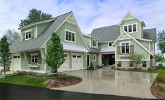 Sunset View traditional exterior- dont love the minty green color, but change it to a greyish blue and swoon.