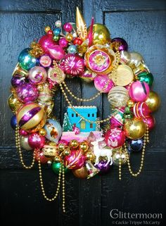 20 Strikingly Unique Christmas Wreath Ideas - These Christmas wreath ideas are unique enough to have any of your guests loving them this holiday season! Bauble Wreath, Pom Pom Wreath, Christmas Ornament Wreath, Christmas Baubles, Christmas Decorations, Christmas Lights, Twelve Days Of Christmas, Retro Christmas, All Things Christmas