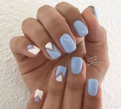 Blue and white nails, Fresh nails, Geometric nails, Spring summer nails 2017, Stylish nails, Triangle french manicure, Triangle nails, Two color nails