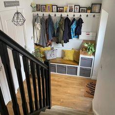 Staircase Landing, Staircase Storage, Hallway Storage, Stair Storage, Kallax Shelving Unit, Flur Design, Basement Entrance, Coat Storage, Hallway Designs