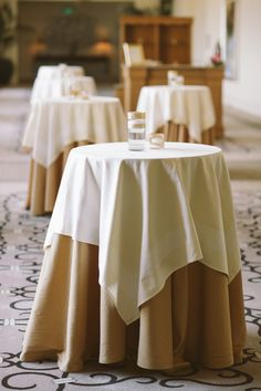 Instead Of One Round Or  Banquet Table Stagger Groupings Of - Cocktail table linens