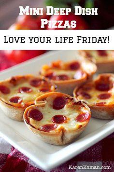 Quick & Easy Mini Deep Dish Pizzas by @dashingdish    #LoveYourLifeFriday at www.KarenEhman.com