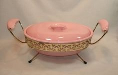 Miramar California Pottery Pink Covered Casserole with Holder Rack    about 40$