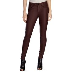 Karen Millen Skinny Coated Jeans in Dark Red ($99) ❤ liked on Polyvore featuring jeans, dark red, karen millen, skinny jeans, skinny fit jeans, super skinny jeans and dark red jeans