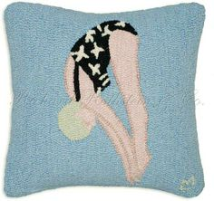 Swimming Pillow - Hooked Pillows at NeedlepointPillows.com