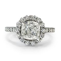 Engagement ring vintage designed with accents. 1 Carat cushion cut main diamond E/VS2 & 32 accents 0.60 CT 14K White or Yellow gold by GOLDIAM on Etsy https://www.etsy.com/listing/190452879/engagement-ring-vintage-designed-with