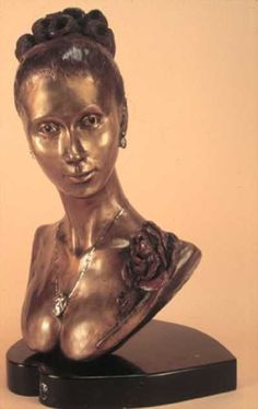 Bronze sculptures of females by artist ione Citrin titled: 'The Rose'