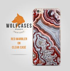 Red Color Marble Stone Design Ultrathin Transperent by WolfCases