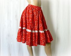 Vintage 80s as 50s Circle Skirt M Red Bandana Print at PopFizzVintage, $32.00