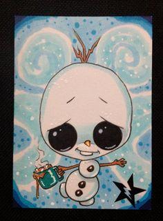 Sugar Fueled Olaf Snowman Cocoa Frozen Disney Slurpee lowbrow creepy cute big eye ACEO mini print