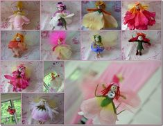 DIY Flower Fairies <3   They are the cutest and great as gift tags, party favors, stick them down into cupcakes, barrettes, Make a Mobile and hang them in trees and let them dance in the wind what ever you can find for them to be