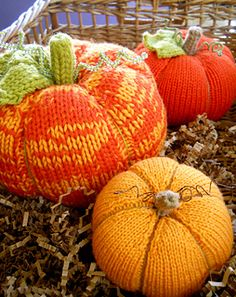 A knit pumpkin design in three sizes. No felting required!