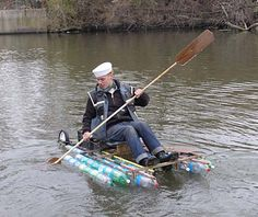 Bouyancy, of course, is the key to floating a boat.You can assemble your recycled materials into a sealed hull like a conventional boat.Or you can collect bouyant objects to build a raft. Styrofoam can sometimes be scavenged, but discarded bottles, buckets and jugs are far more common. You will need to collect a lot of them.    A liter of water weighs one kilogram. So your raft will need to displace more liters of river water than your weight (and the boat's) in order to achieve positive…