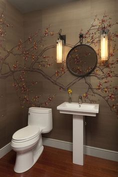 Get inspired by Eclectic Bathroom Design photo by Cravotta Studios. Wayfair lets you find the designer products in the photo and get ideas from thousands of other Eclectic Bathroom Design photos. Bathroom Photos, Bathroom Sets, Small Bathroom, Asian Bathroom, Bathroom Designs, Bathroom Mural, Brown Bathroom, Bathroom Wallpaper, Downstairs Bathroom