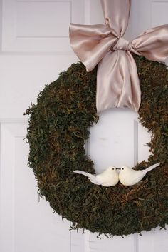 Moss Wreath- Pictured {TUTORIAL} (take birds off)