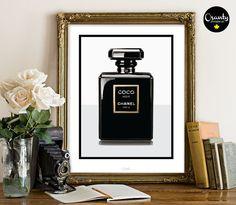 Coco Noir Chanel Paris, Coco Chanel perfume bottle black illustration, Black chanel perfume print, Office Perfume Printable, Fashion poster