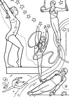 Olympic Gymnastics And Other Sports Collage Colouring Pages