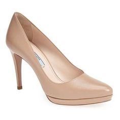 Pre-Owned Prada Saffiano Leather Almond Toe Platform Pumps Size 40 10... (€495) ❤ liked on Polyvore featuring shoes, pumps, neutral, beige pumps, high heeled footwear, nude shoes, nude high heel shoes and prada shoes