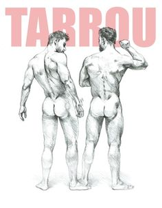 Two naked men peering each other equipent. Gay art from the diary of Tarrou. Pencil on Paper.
