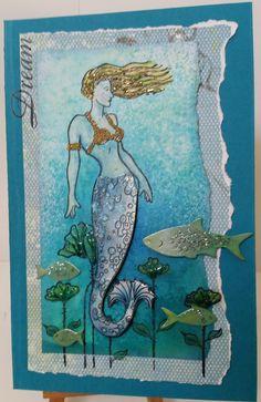 Judikins: Mermaid 28141, Stamp-It Australia: Poppy Patch 4944E. Card by Susan of Art Attic Studio