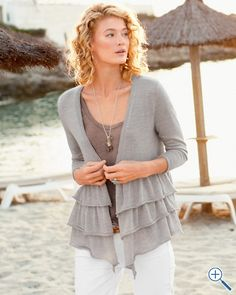 $98 Garnet Hill Triple-Tiered Cardigan in 3 color choices; sizes XS-XL - $39