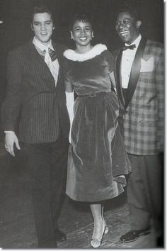 Elvis, Claudia Ivy and B.B. King backstage at WDIA Goodwill Revue, Memphis, December 7, 1956. Photos © Ernest C. Withers