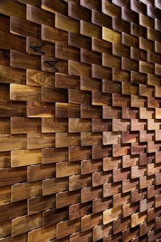 Summer style! Wonderful design wood shingle feature wall for restaurant, bar or office!! Use this at home too -- imagine this kind of wall on a feature garden wall! Wood block or shingle feature wall! More than 10,000 pins on Summer board on Pinterest!