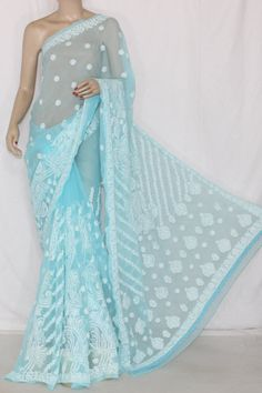 Sky Blue Hand Embroidered Designer Lucknowi Chikankari Saree (With Blouse - Georgette) 12705