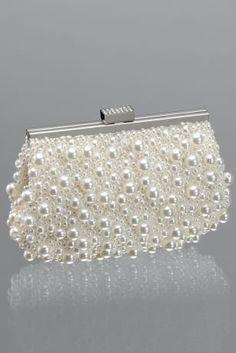 morelle mariage robe de marie pochette perle ivoire pour la marie avec chaine 50020 - Pochette Mariage Ecru