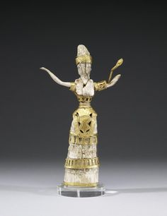 ancientpeoples:  Ivory and Gold Statue of Priestess or Goddess  Minoan  c.16th Century BC  Despite the delicate nature of the precious gold and ivory materials, the stance of this small figurine conveys power and strength. The snakes adorning the figure are symbolic of fertility and regenerative powers.  Source: The Walters Art Museum  (via a-harlots-progress)  Source: ancientpeoples